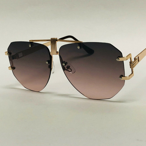 Women Men  Sunglasses Gold Metal Frame Aviator Retro Classic Flat Lens Designer Vintage Metal Top Bar Miami Style Gafas Lentes Para Hombres Mujeres