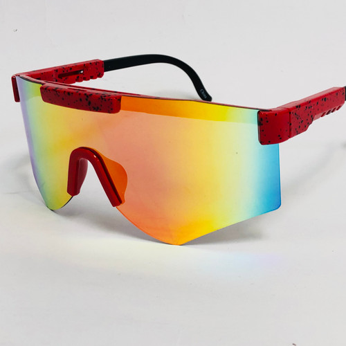 Men Women Sports  Cycling One Piece Sunglasses Oversize Single Lens Mirrored Shades