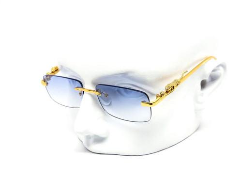 Men's Sunglasses Blue Lens  Hip Hop Quavo Migos Rimless Square Frame