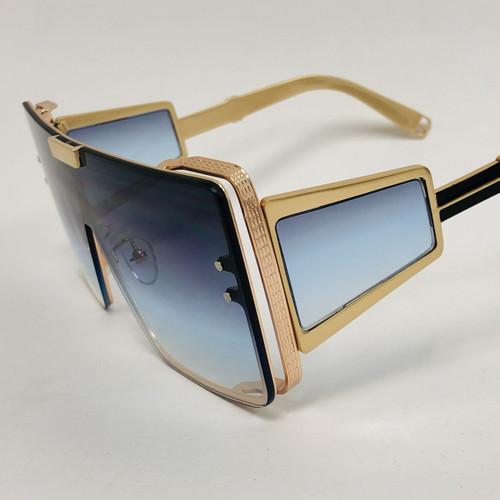 Men Women Designer Sunglasses  Shades Fashion Oversize Large  Flat Lens Metal