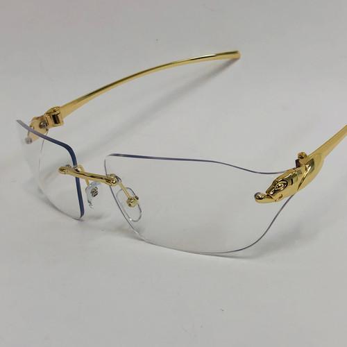 Men's Sunglasses Blue Lens  Hip Hop Rapper Migos Rimless Square Frame