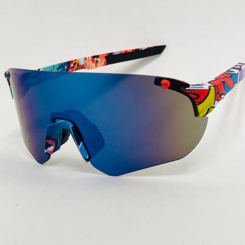 Men Women Sports  Cycling Blue Lens Sunglasses Oversize Single Lens Mirrored Shades