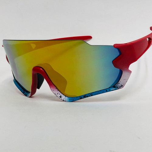 Sport Sunglasses Fire Red Lens Oversized Wrap Around Shades Outdoor