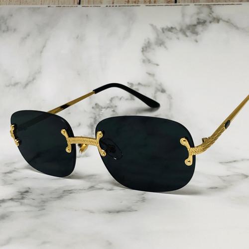 Rimless Square Sunglasses Men Fashion Hip Hop Dark Black Lens