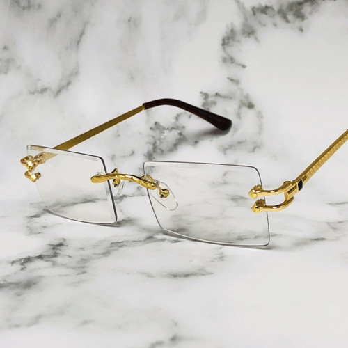Men's Small Square Sophisticated Gold Frame Rimless Eye Glasses