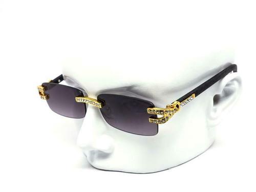Men's Sunglasses Designer Hip Hop Quavo Migos DIAMOND Rimless Square Frame Clear Lens New Rhine Stone