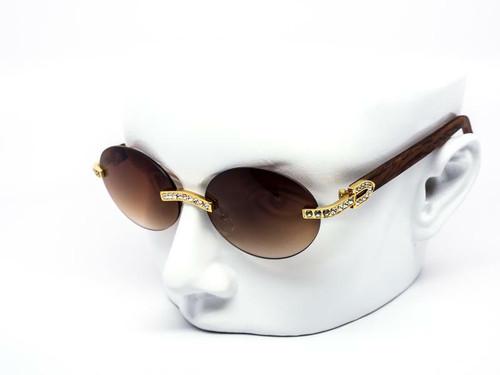 Men's Sunglasses Hip Hop Quavo Migos DIAMOND Rimless Square Frame Brown Lens New Rhine Stone