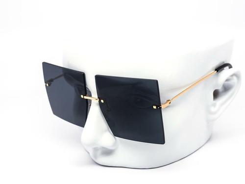 Women Fashion Sunglasses Gold Frame Oversized Big Large Square Design Rimless NEW