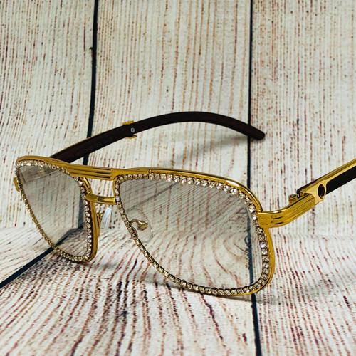 Men's Sunglasses Designer Hip Hop  DIAMOND Clear Lens Iced Out