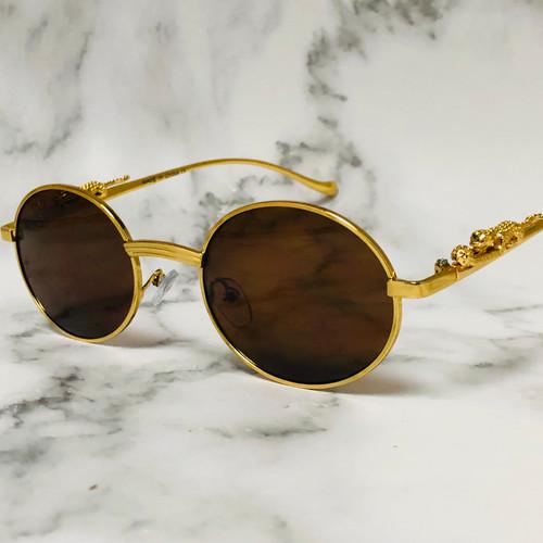 Men Women Sunglasses Small Oval Gold Frame Hip Hop Rapper