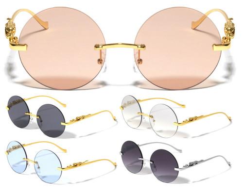 Round Rimless Sunglasses Gold Designer Fashion Style