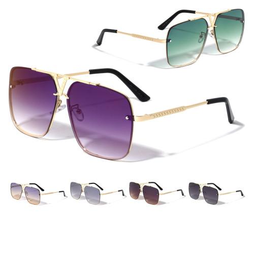 Sunglasses Men Square Aviator Style Large Frame Designer Shades