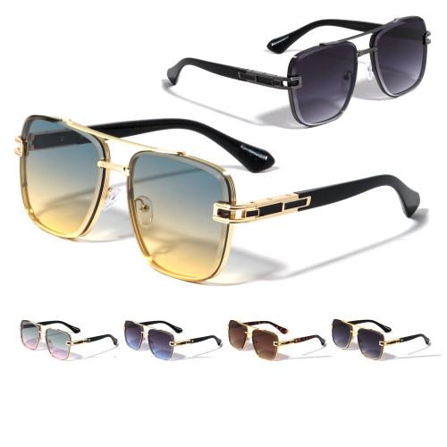 Sunglasses Men Square Aviator Style Gold Frame Shades