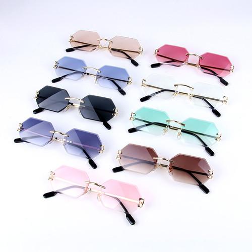 Rimless Sunglasses Small Shades Hip Hop Classy Rimless Sophisticated Elegant Rapper Gold Frame