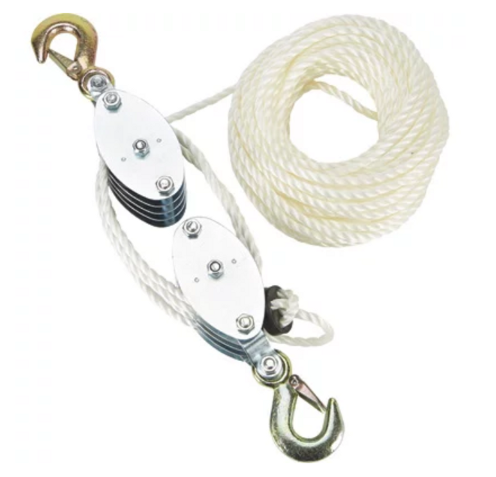"The Grip-On Tools 2000-Lb. Pulley Hoist will be able to handle a load up to 2000 pounds. The hoist itself is manual, so the lifting would need to be done by the user. The pulley hoist, however, DOES NOT HAVE ANY BRAKING SYSTEM available, so creating your own ""stop"" is important.  It comes with 1/4 inch rope."