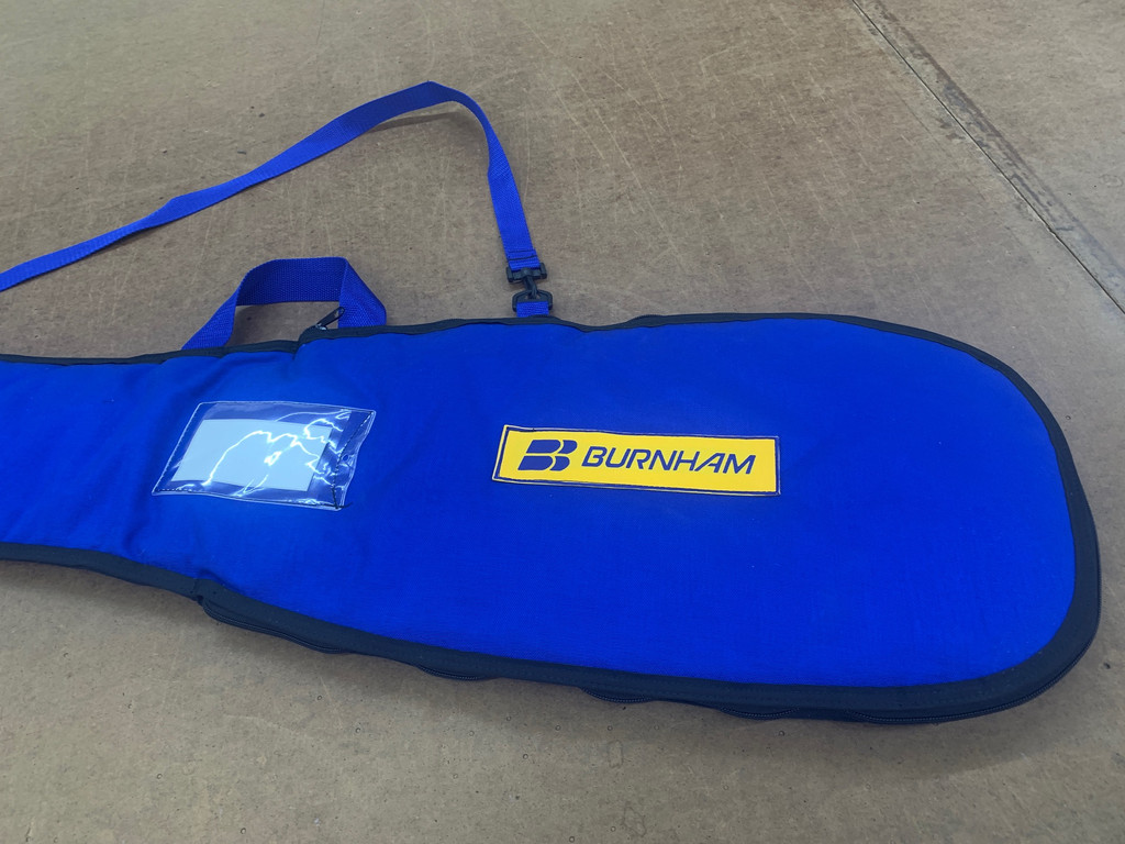 A new kayak paddle carrying bag from Burnham made with WeatherMAX with our signature quilted lining.  Add your initials to your new kayak carrying case from Burnham, the best bags in the business