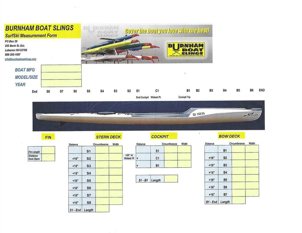 Surf Ski 1X Measurement