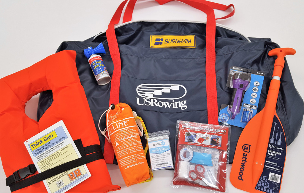 """(1) US Rowing Carry Bag, Made by Burnham.  Waterproof, shoulder strap, Heavy Duty Zipper, and UV Protected!  This bag will last! Here's what's inside:  (1) 24"""" Telescoping Paddle, (1) 50' Throw Line, (1) High Intensity Waterproof Flashlight (batteries included), (1) Safety Air Horn, (1) Waterproof First Aid Kit, (9) Emergency Rescue Blankets, (11) Adult Type 11 PFD. US Rowing Members will receive a 5% Discount per Safety Kit.  At checkout, use Coupon Code:  USRA, to receive the 5% discount."""
