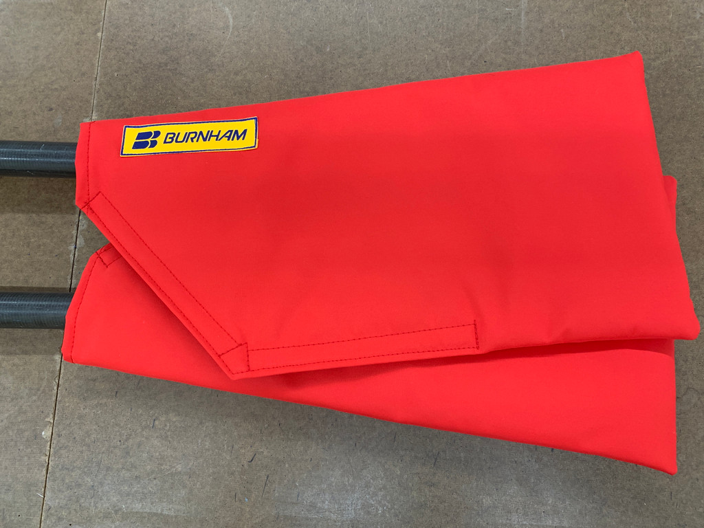 A great NEW item to protect your sculling Blades! WeatherMax outer shell with a padded interior.  Velcro closure for easy on & off. Set (2)  Sweep oar Blade Covers will protect your oars while travelling.