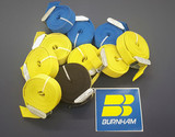 Tie Down Straps with Cam-buckle. 8' Blue, 10' Yellow, 12' black