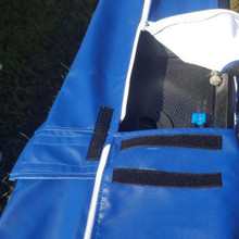 Interior of Rowing Shell Covers, heavy duty zippers.  Rigger slot openings for storage and/or travel with your Rigger on or off.