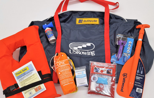 "(1) US Rowing Carry Bag, Made by Burnham.  Waterproof, shoulder strap, Heavy Duty Zipper, and UV Protected!  This bag will last! Here's what's inside:  (1) 24"" Telescoping Paddle, (1) 50' Throw Line, (1) High Intensity Waterproof Flashlight (batteries included), (1) Safety Air Horn, (1) Waterproof First Aid Kit, (9) Emergency Rescue Blankets, (11) Adult Type 11 PFD. US Rowing Members will receive a 5% Discount per Safety Kit.  At checkout, use Coupon Code:  USRA, to receive the 5% discount."