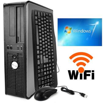 FAST Dell Desktop Computer PC DUAL CORE 3.40GHZ 160GB 4GB Windows 7 PRO  + WIFI
