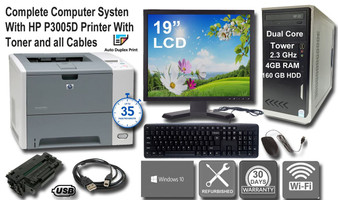 """Complete Computer System with Lase Printer for Home, Home office, School Homework, with Large 19"""" Monitor, Wi-Fi, Keyboard & Mouse"""