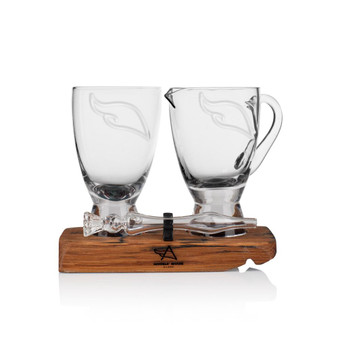 Angel's Share Glass Whisky Twin Tasting Set - Water Jug, Glass, Mini Whisky Water Dropper on oak barrel stave and Scottish tartan inlay.