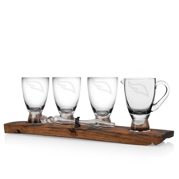 Oak Stave Whisky Flight with Jug, Tasting Glasses & Glass Whisky Water Dropper,  inset with Scottish tartan.