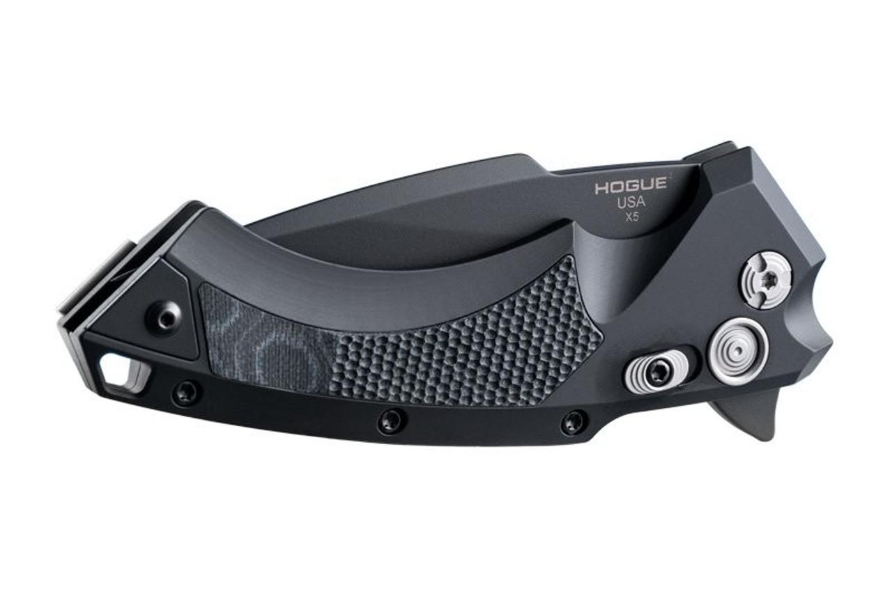 """Hogue X5 3.5"""" Folder CPM154 Spear Point Blade Black Finish - Black Aluminum Frame G-Mascus Black G10 Insert"""