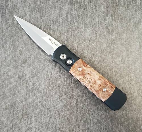 "Protech Godson 3.15"" Satin Blk/Maple Burl"