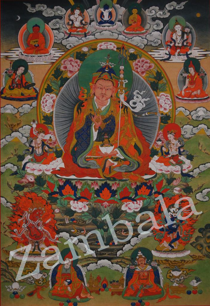 Guru Rinpoche Thangka Printed on Nanotechnology Paper (Not Mounted)