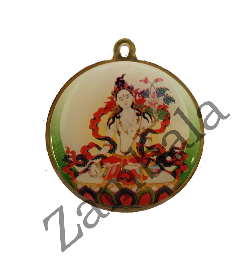 White Tara with Mantra Enamel Pendant