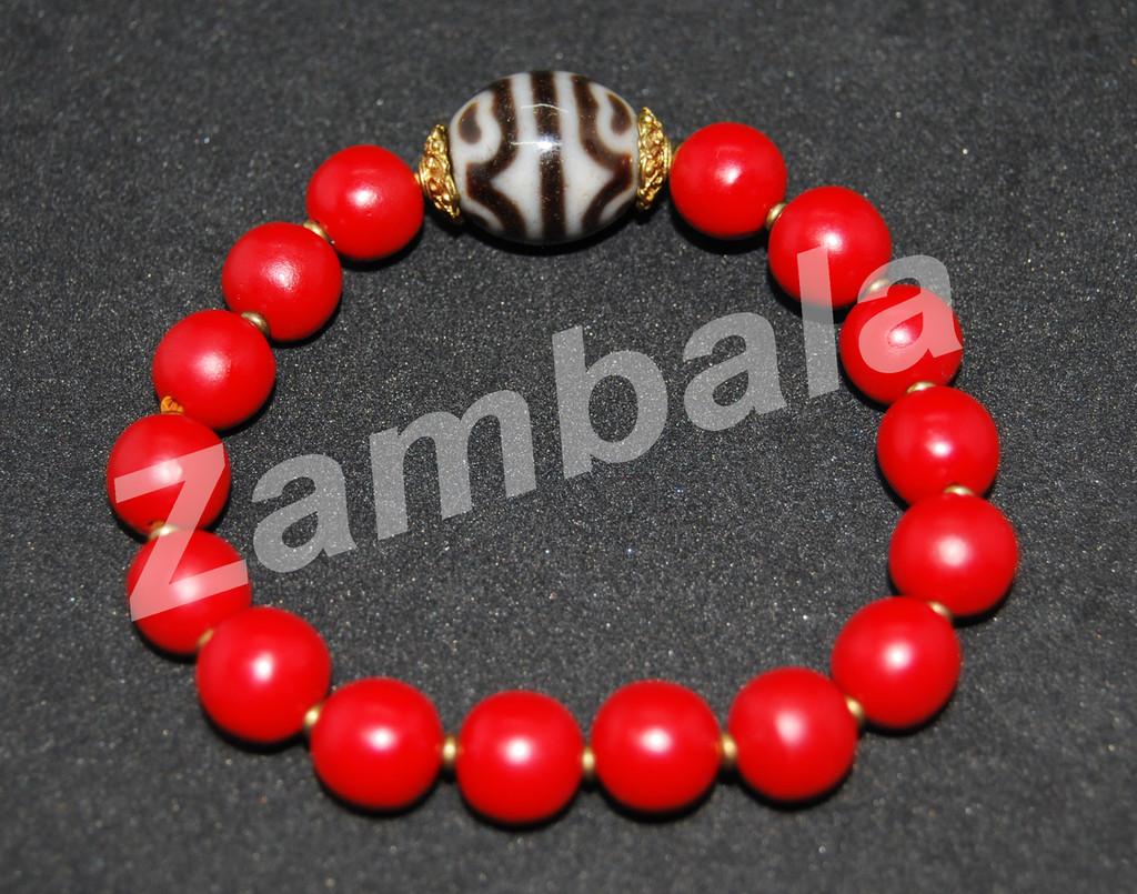 Dzi w/ Red Beads Bracelet