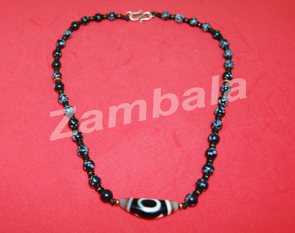 Dzi with Snow Flk Obsedian Beads Mala