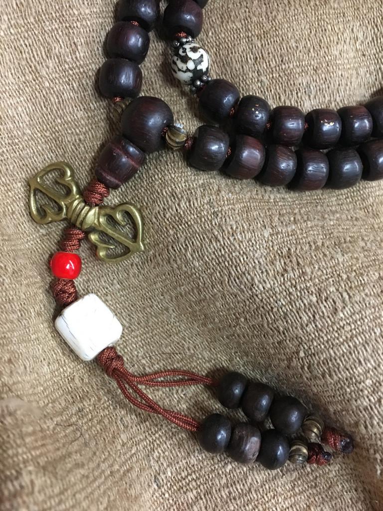 Antique Ebony Mala 108 8mm Beads