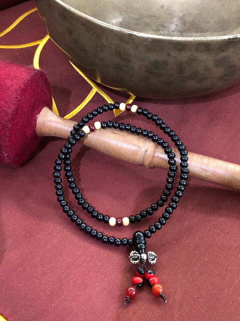 Black Sandalwood Mala 108 5mm Beads with Dorje