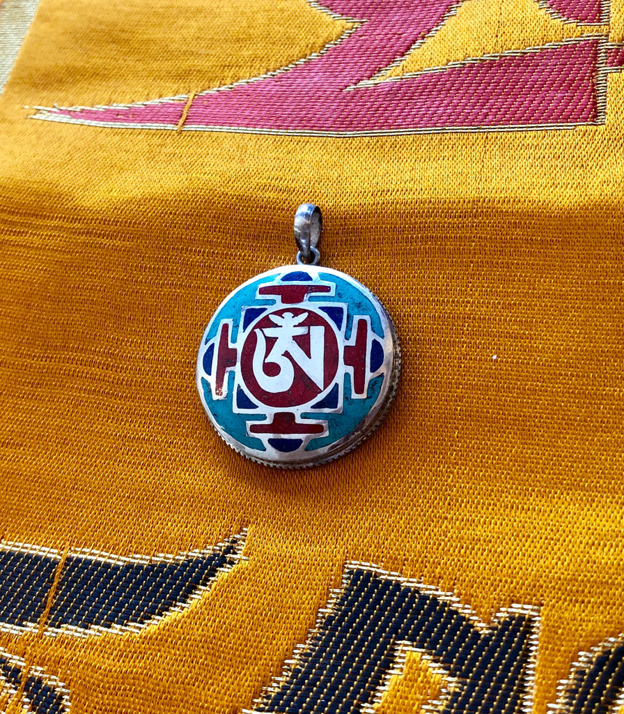 SIlver Pendant with Stone Inlay and Tibetan Om Pendant