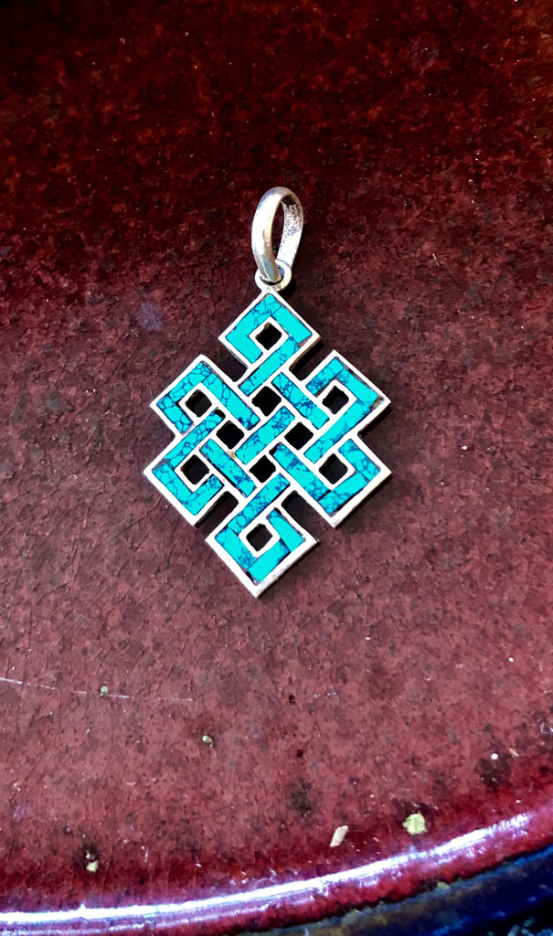 Silver Endless Knot Pendant with Turquoise Inlay