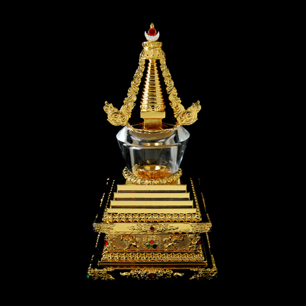 Gold Plated Stupa with Crystal Dome