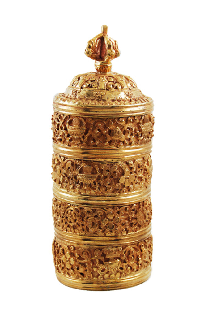 156A- Copper Round Neshi with gold plating, 4 containers with deep & beautiful hand carved details. Neshi: (Rice Pot) is used for holding Rice to offer and bless one's home or retreat land.