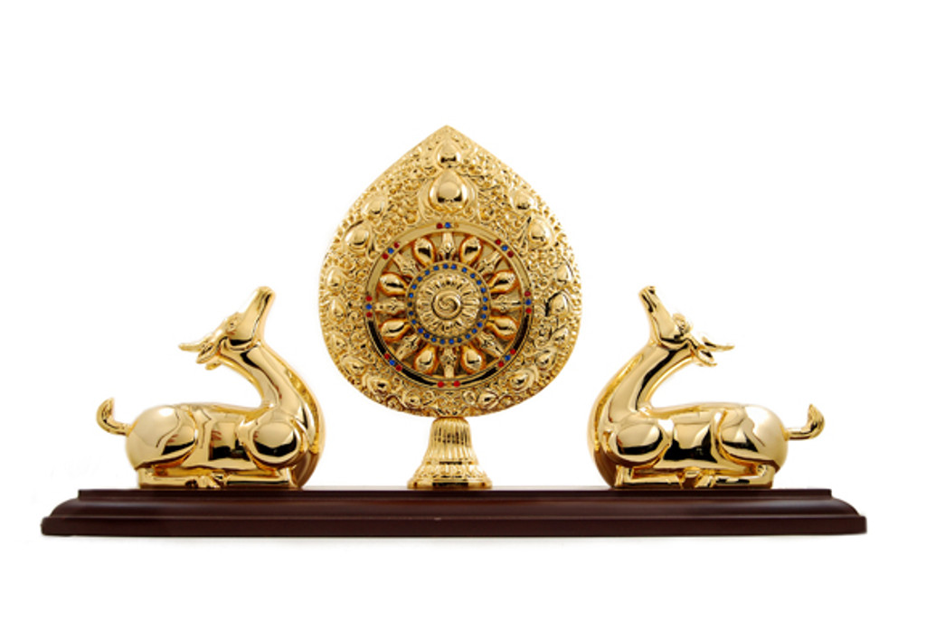 Wheel of Dharma Flanked by Two Deer Gold Plated