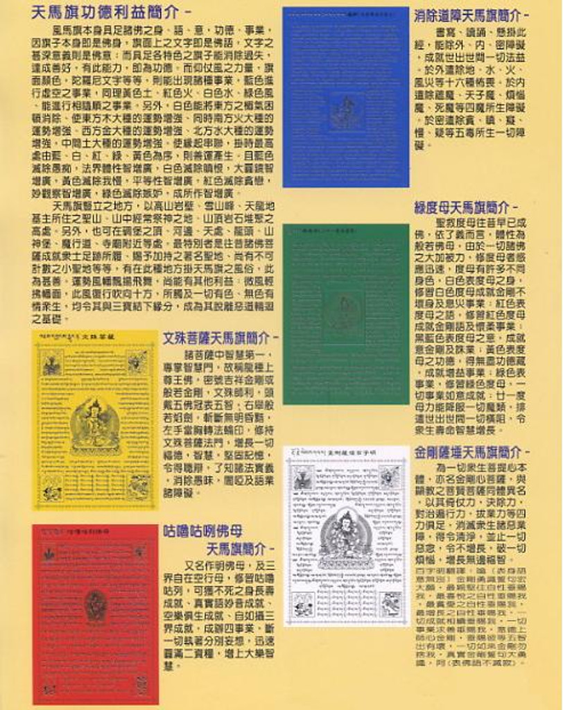 5 Different Buddha Lungta Set