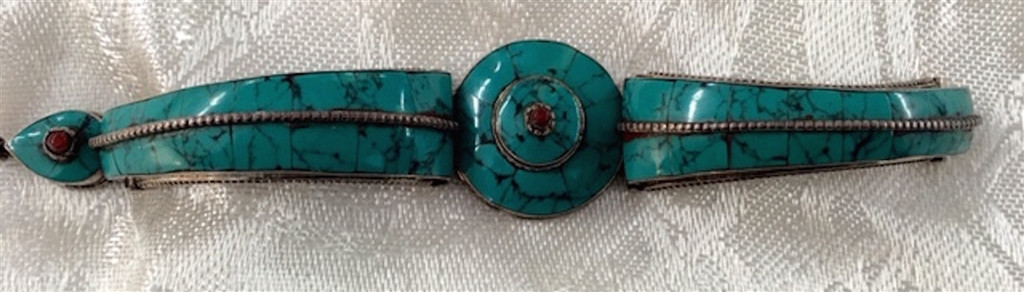 Antique Silver Bracelet with Turquoise and Coral  from Nepal
