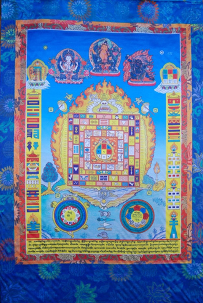 Srid Pa Ho Silk Screen Thangka 3 ft