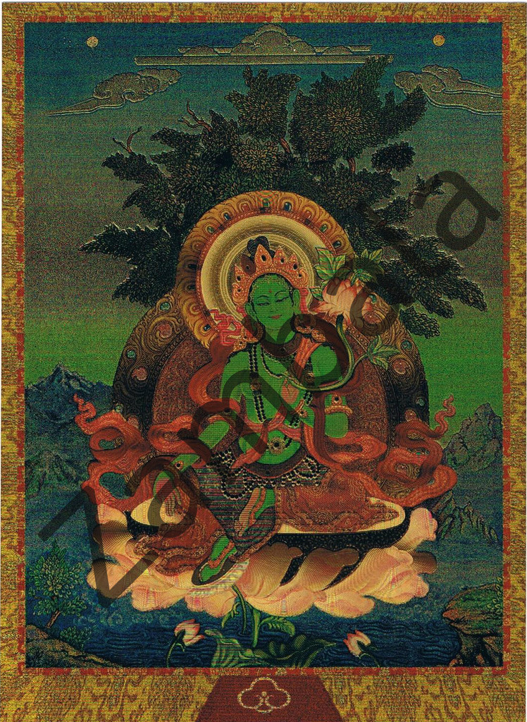 Green Tara Card Gold