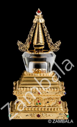 Stupa Gold Plated with Crystal Dome (S)