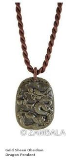 Gold Sheen Obsidian Dragon Pendant
