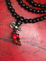 Black Sandalwood Mala 108 6mm Beads with Dorje